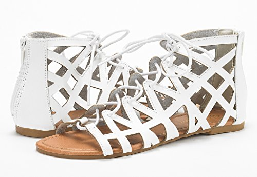 Gladiator Flat Sandals white Miller DREAM NEWD Women Color Buckle Blocking PAIRS Summer WnWYTwgqZ