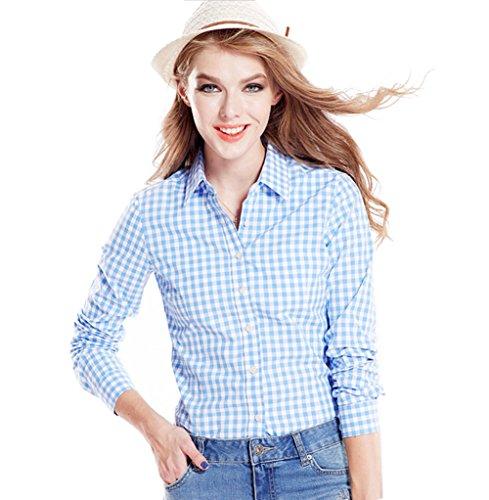 (Tortor 1Bacha Women's Gingham Long Sleeve Button Down Plaid Shirt Blue White 8-10)