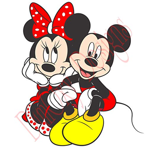 One Stop Decals Mickey Mouse and Minnie Mouse Sitting (V2) Static Cling Decoration for Windows, Mirrors or Polished Metal Surfaces. (16