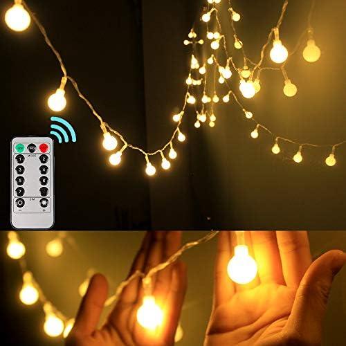Dailyart Globe Lichterkette batteriebetrieben 40 LED Lichterkette 8 Modi Wasserdicht Dekorative Licht - Warmweiß, warmweiß, 50LED, Remote Control