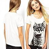 Etosell-Retro-Lady-CrewNeck-Short-Sleeve-T-Shirt-Cute-Cat-Print-Loose-Tops-M