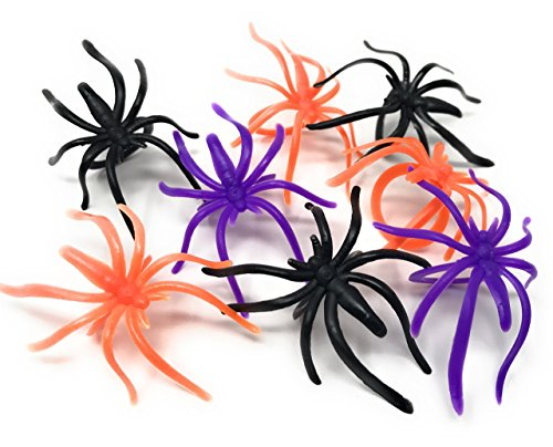 288 Bulk Halloween Spider Ring Assortment - Orange, Purple, Black, and Glow-in-The-Dark Creepy Crawly Party Favors, Treats, and Cupcake Toppers -