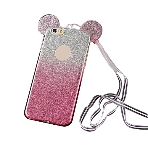 7526d6354fa Soft TPU Silicone Back Case for Apple iPhone 7 Plus - fengus Lovely Bling  Glitter Mouse Ear Cover Skin Shell with Neck Strap Lanyard - Gradient Hot  Pink