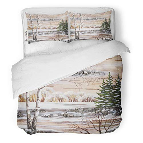 Duvet Cover Birch - MIGAGA Decor Duvet Cover Set Full/Queen Size Forest Drawing Distemper on Birch Bark The Siberian Winter Lake Paint 3 Piece Brushed Microfiber Fabric Print Bedding Set Cover