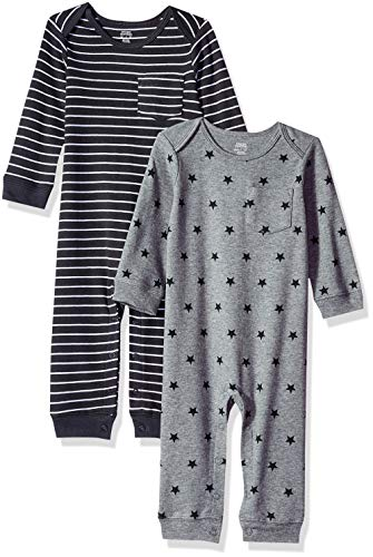 Amazon Essentials Baby 2-Pack Coverall, Uni Star Stripe Neutral, 12M