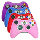 HDE Xbox 360 Controller Skin 4 Pack Combo Silicone Rubber Protective Grip Case Cover for Microsoft Xbox 360 Wireless Gamepad (Purple, Aqua Blue, Red, Pink)