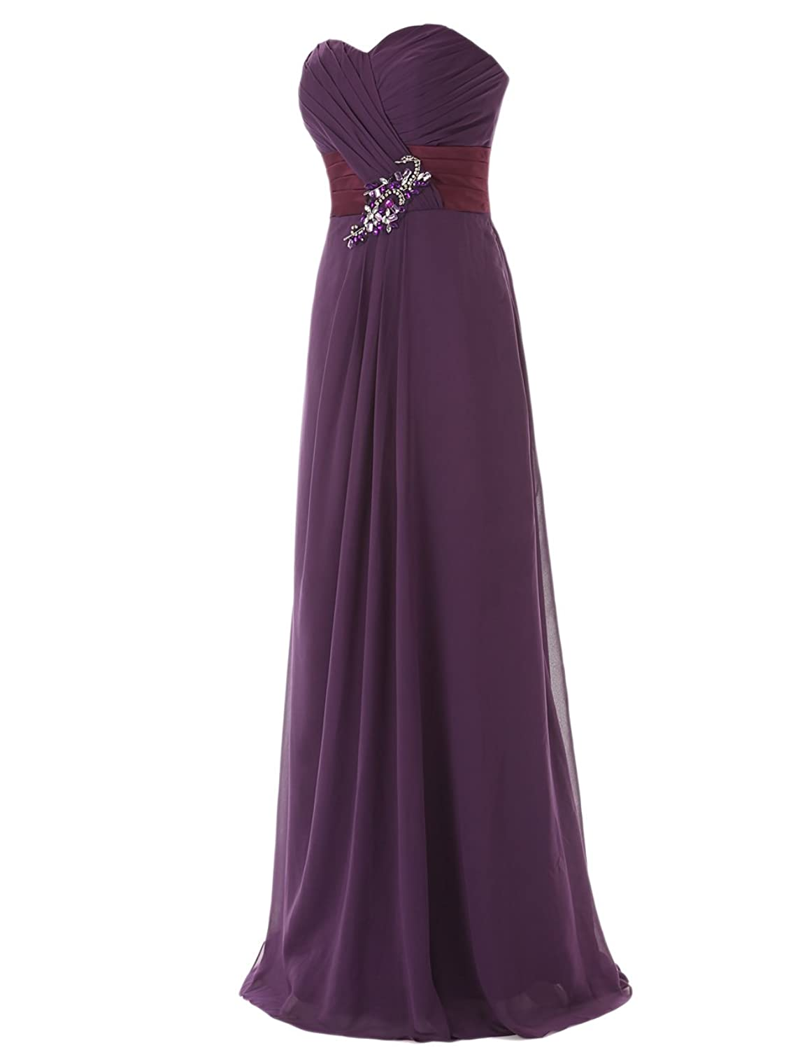 Dresstells Long Chiffon Prom Dress with Beadings Bridesmaid Dresses ...