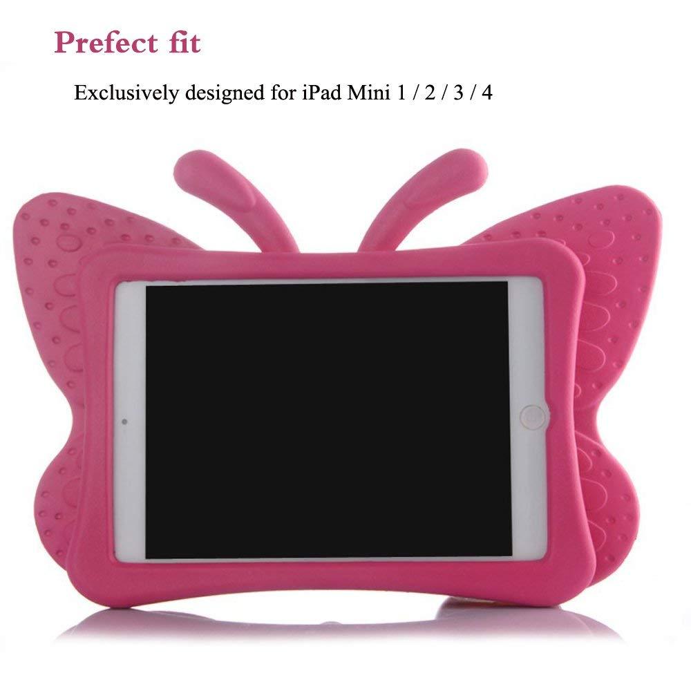 AILRINNI Coque pour iPad Mini 5 Enfants, Souple Silicone Mignonne Papillon Kids EVA étui [Antichoc] [Scratch résistant] Gel Housse de Protection Support pour Apple iPad Mini 1/2/3/4/5 - Rose Rouge