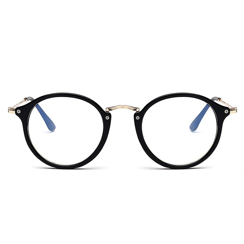 Skitic Occhiali Rotondi Retrò Aviatore Unisex Uomo e Donna Decorativo Lenti Trasparenti Retro Circolari Fotogramma Intero Eyeglasses - Brillante Nero AjNoUp5I