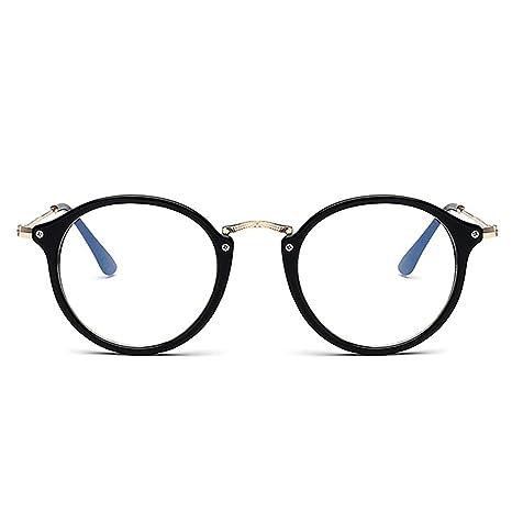 21b3853845d3e6 Skitic Retro Lunettes, Unisexe Lentille Claire Oval Monture en Métal  Eyeglasses - Noir Brillant
