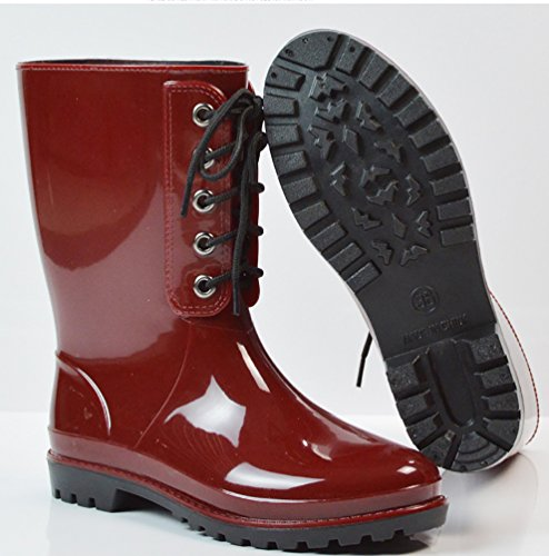 LvRao Women's Rubber Boots Rain Snow Waterproof Booties High Ankle Long Wellington Garden Shoes Wine Red CYJeUUp