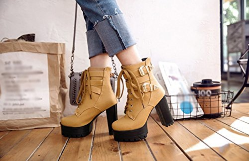 XZ Thick Heel Sexy High-Heel Boots Female Boots Yellow 2tsQ0B9OaM