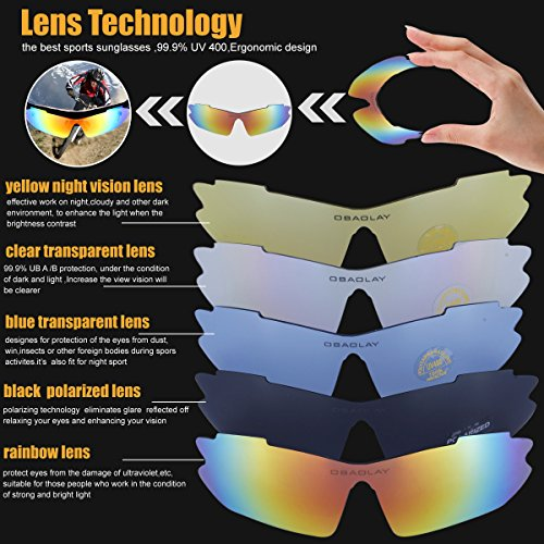 Polarized Sports Sunglasses Cycling Baseball Running Fishing Driving Golf Hiking Biking Outdoor Glasses with 5 Interchangeable Lenses Motorcycle Bicycle Riding Goggles for Men Women (yellow & orange) by LOVE'S (Image #4)