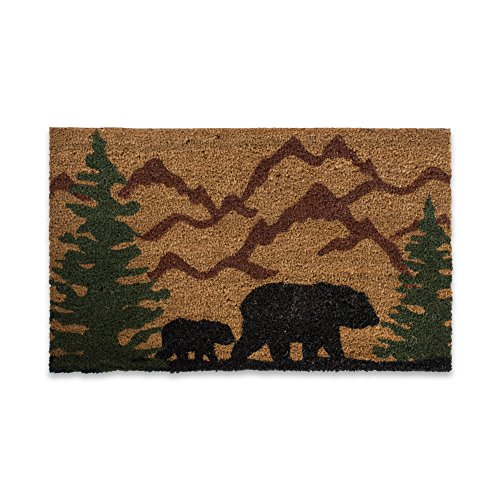 DII CAMZ10716 Indoor/Outdoor Natural Coir Easy Clean Rubber Back Entry Way Doormat for Patio, Front Weather Exterior Doors, 18x30, Bear Country Funny Bear