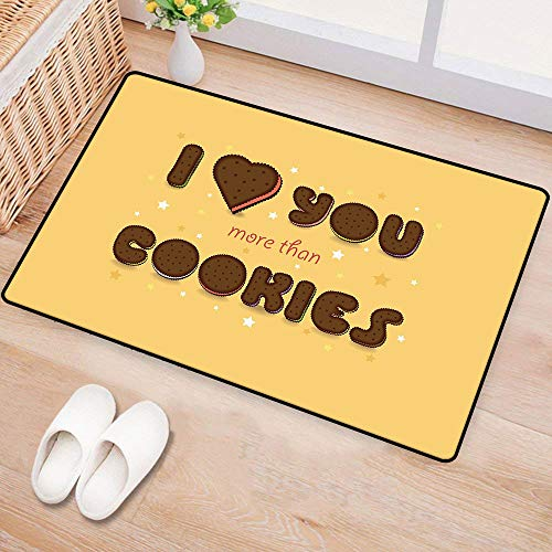 WilliamsDecor I Love You MorePrinted Door matValentines Quote with Chocolate Cream Filled Cookie Artistic Font StarsEnvironmental Protection W16 xL24 Multicolor