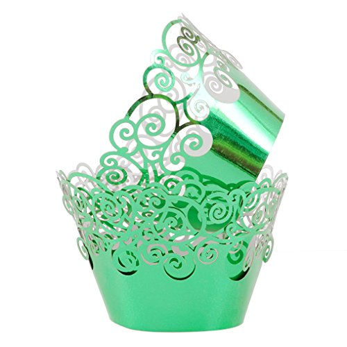 Aiyaya Filigree Artistic Muffin Case Cupcake Paper Cup Liner Little Vine Lace Laser Cupcake Wrappers for Wedding Party Birthday Decoration (Mirror Green)
