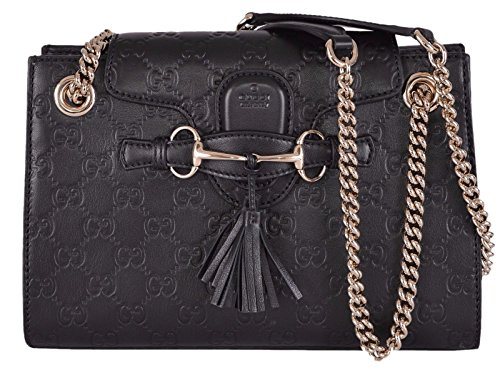 Gucci Women's Small Black GG Guccissima Leather Emily Crossbody Handbag