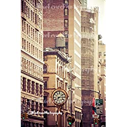 Flatiron Clock, Gold Tones, Photography Photo Print Home Wall Decor New York City Living Room, Bedroom, Den, Classic, Sizes Available from 5x7 to 20x30.