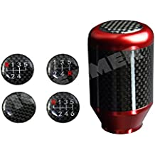ICBEAMER Racing Style Aluminum w/Carbon Fiber Tall Manual Shifter Gear Lever Shift Knob 5 6 Speeds pattern [Color Red]