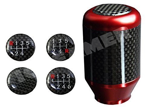 ICBEAMER Racing Style Red Aluminum w/Carbon Fiber Mini Short Throw Shifter Manual Stick Shift Knob 5 6 Speeds Pattern (Racing Stick Shift Knobs)