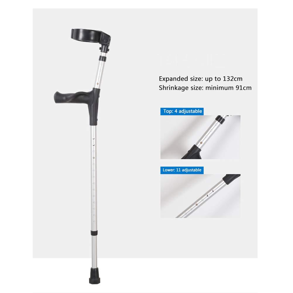 Antiscivolo per Anziani Persone disabili Stampelle in Lega di Alluminio Argento LFFME Stampelle per Adulti infortuni Sportivi Regolabile in Altezza