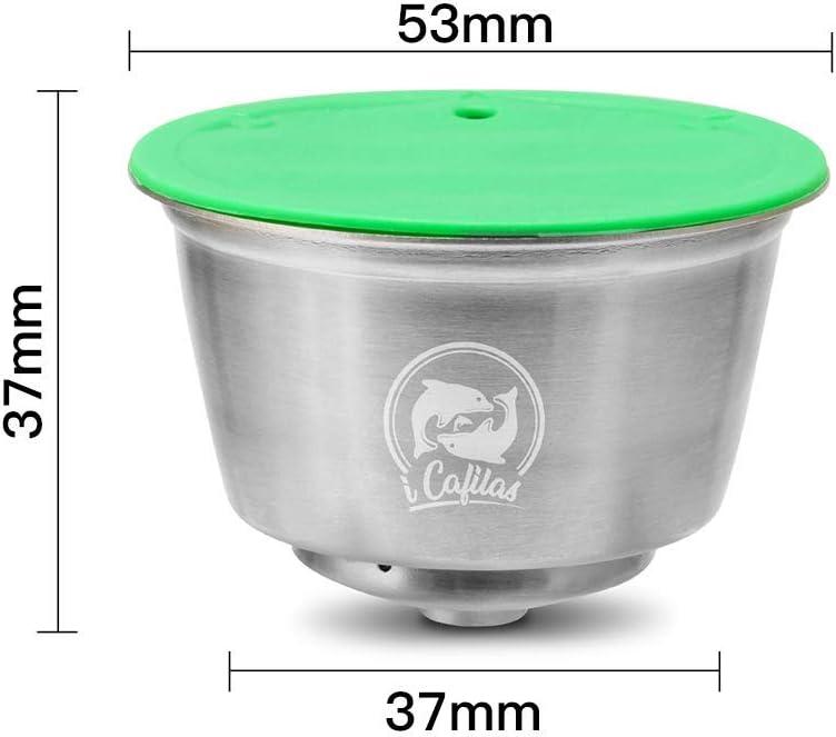 c/ápsula adecuada para la m/áquina Dolce Gusto con 1 cuchara y 1 pincel C/ápsula de caf/é recargable reutilizable caf/é recargable de metal de acero inoxidable Orsit