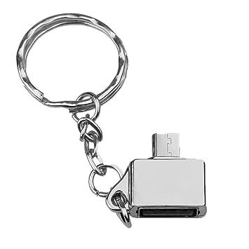 Gazechimp 1 Pieza de Adaptador Micro USB OTG para Teléfono Tableta Llavero Videojuegos PC Ordenador - Plata