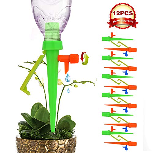 【New Version】 Plant Self Watering Spikes System with Slow Release Control Valve Switch, Automatic Vacation Plant Irrigation Watering Drip Devices, Anti-Tilt Anti-Fall Design, Suitable for All Bottles