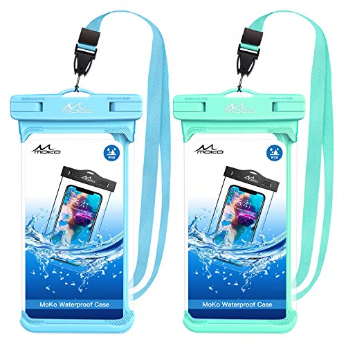 MoKo Waterproof Phone Pouch, [2 Pack] Underwater Cellphone Case Dry Bag with Lanyard Compatible with iPhone 11/11 Pro/11 Pro Max/X/Xs/Xr//Xs Max, 8/7, Samsung Galaxy S10, S20, S10/S9/S8 Plus Note 9/8