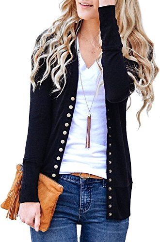 (Cnfio Womens Long Sleeve Knit Button Down Cardigan V-Neck Basic Knitwear Sweater Black L)