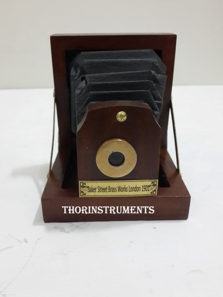 THORINSTRUMENTS (with device) Collectible Wood Antique Style Decorative Table desk Camera Home decor