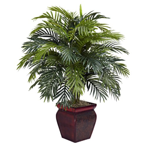 Nearly Natural 6686 Areca with Planter Decorative Silk Plant, Green by Nearly Natural