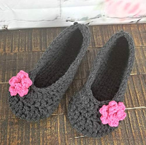 5813aad264e6b Amazon.com: Womens charcoal gray handmade slippers with pink roses ...