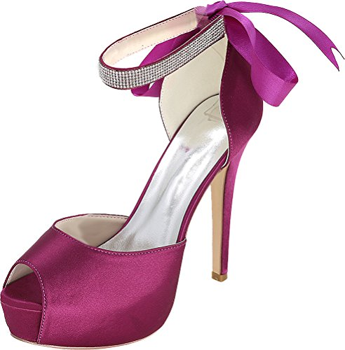 Bridesmaid Bride 3128 Toe Ankle Work 37 Ladies 08E Prom EU Purple Dress Comfort Party Wedding Pumps Peep Rhinestone Platform Comfort Strap Satin Ribbon qwrSXxrI