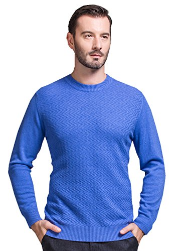 METERDE Men's Rib Trim Long Sleeves Cashmere Textured Sweater Sky Blue L by Cashmere DX