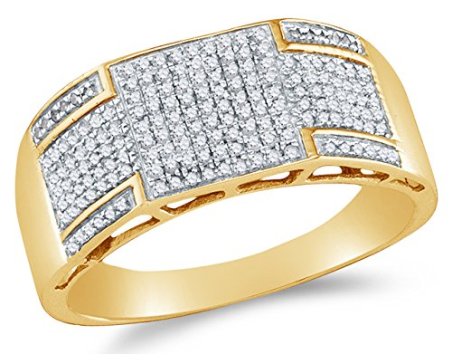 Sonia Jewels Size 6.75-10K Yellow Gold Round Diamond Mens Wedding Band Ring - Micro Pave Setting (.42 (9k Gold Pave Diamond)