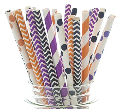 Halloween Straws, Orange, Black & Purple Straws, Halloween Party Supplies, Paper Straws (25 Pack) - Trick or Treat Spooky Halloween Candy Stripe Color Straws
