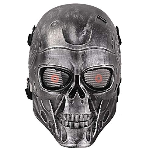 A&N Airsoft Full Face Terminator Skeleton Skull Mask Metal Eye Mesh Protection Black/Party Dress Up Costume Halloween Movie Prop ()