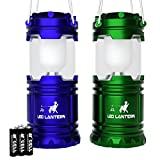 LED Camping Lantern - MalloMe LED Camping Lantern Flashlights - Backpacking & Camping Equipment Lights - Best Gift Ideas (6 AA Batteries Included), Blue and Green
