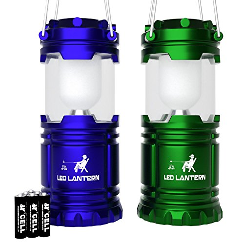 MalloMe LED Camping Lantern Flashlights - Backpacking & Camping Equipment Lights - Best Gift Ideas (6 AA Batteries Included), Blue and Green