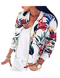 Andoky Mujeres Original Fit Flor Impresa Peso Ligero Varsity Jacket