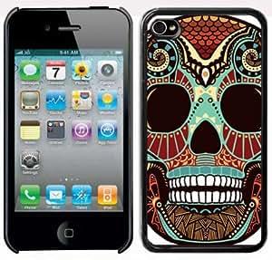 Apple iPhone 4 4S 4G Black 4B77 Hard Back Case Cover Tribal Skull Color Design wangjiang maoyi