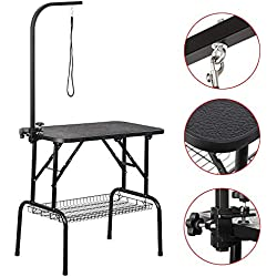 "Yaheetech Pet Dog Grooming Table Adjustable Height - 32"" Drying Table w/Arm/Noose/Mesh Tray for Small Dogs Cats Portable Non-Slip Maximum Capacity Up to 220lbs Black"