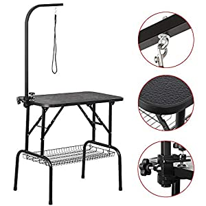 Yaheetech Portable Small Pet Dog Grooming Table Adjustable Height - 32/45-inch Drying Table w/Arm/Noose/Mesh Tray for Small Dogs Cats Non-Slip Maximum Capacity Up to 220lbs Black 13