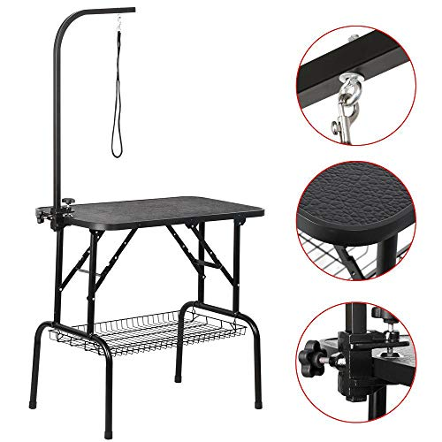 "Yaheetech Pet Dog Grooming Table Adjustable Height - 32"" Drying Table w/Arm/Noose/Mesh Tray for Small Dogs Cats Portable Non-Slip Maximum Capacity Up to 220lbs Black from Yaheetech"