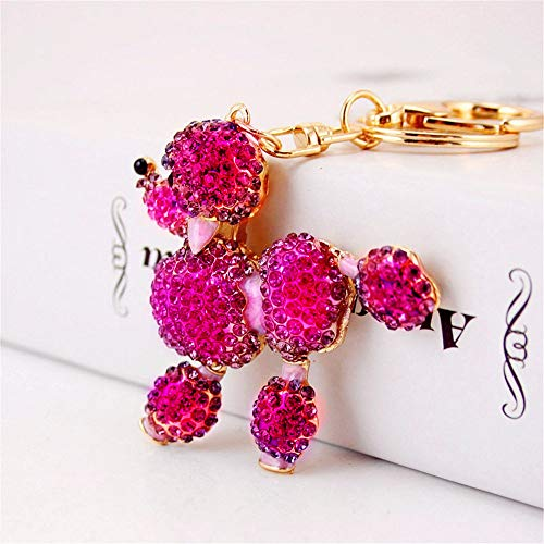 Crystal Dog Cute Flower Poodle Sparkling Keychain Rhinestones Purse Bag Charm Pendant Keyring Gift for Girl Woman Lady (Pink)