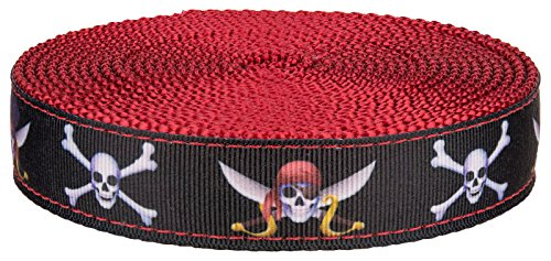 Country Brook Design 1 Inch Jolly Roger Ribbon on Red Nylon Webbing, 5 Yards (Jolly Ribbon)