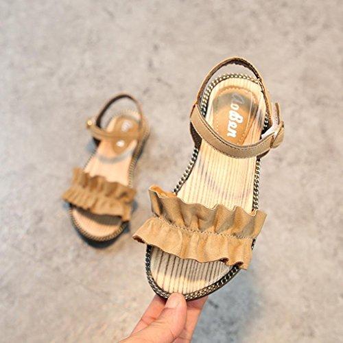 Prevently Sommer Mädchen Prinzessin Schuhe Kinder Infant Kinder Mädchen Welle Rüschen Prinzessin Sandalen Freizeitschuhe Mädchen Zerzauste Sandalen Prinzessin Schuhe Beige