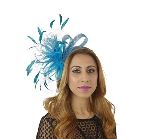 Cute & Fun Charley Teal Sinamay with Silk Flowers and Feathers Ascot/Derby Fascinator Hat - With Headband