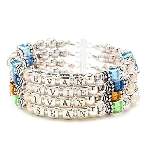 4 Strand Personalized Mothers Bracelet, Birth Month Crystals & Sterling Silver Beads ()